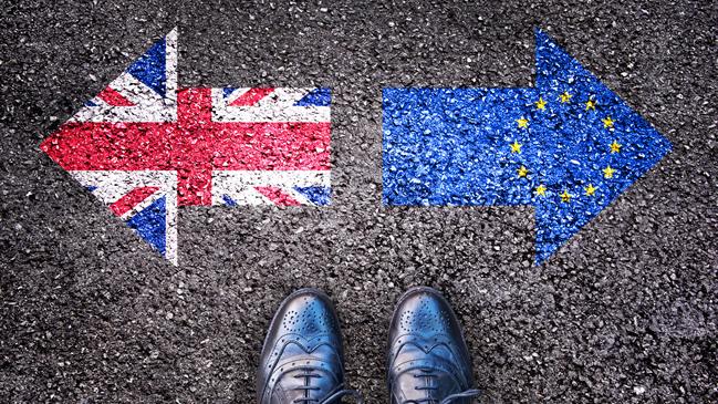 Eine Person steht vor zwei auf den Asphalt gemalten, gegenläufigen Pfeilen, die die britische und die EU-Flagge symobilisieren.